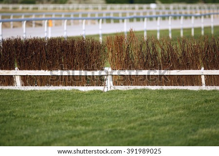 Empty race track for horse racing summertime - stock photo
