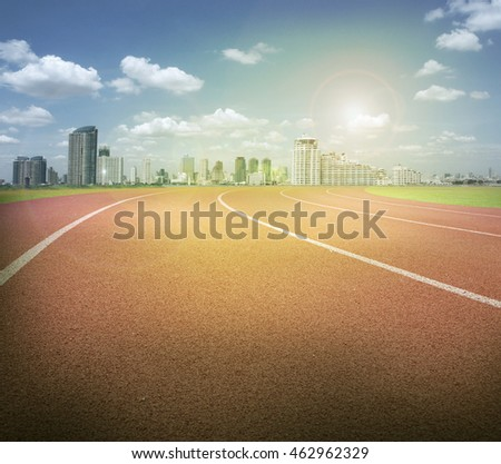 empty race track in the city with sunlight