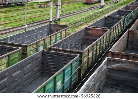 Empty railway cars for various crumbly cargoes - stock photo