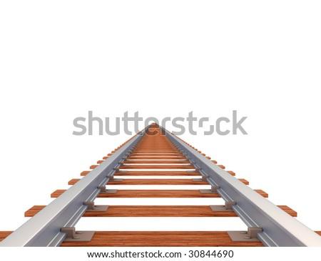 Empty railway track isolated on white - stock photo