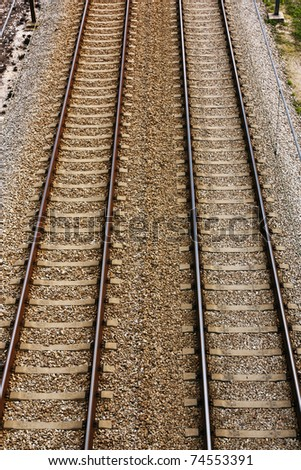 Empty Railway track pair view from the top