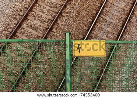 Empty Railway track pair view from the top - stock photo