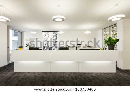 Empty reception hall in modern building  - stock photo