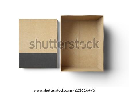 Empty rectangle shape box made of cardboard - stock photo