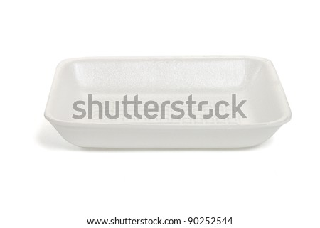 Empty rectangle shape Styrofoam food tray isolated on white background - stock photo