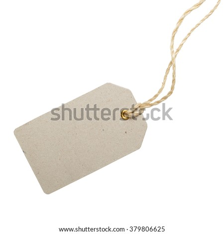 Empty rectangular tag on a string. Sale or price tag. - stock photo