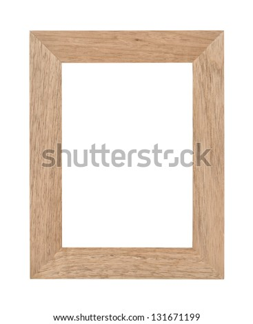 Empty rectangular wooden photo frame with woodgrain texture and blank white copyspace. Isolated on white. - stock photo