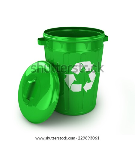 Empty recycle bin isolated on white background - stock photo