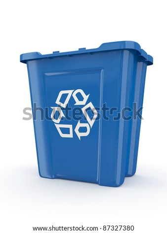 Empty recycle bin with sign recycling. 3d - stock photo