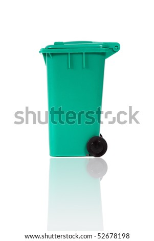 empty recycling bin with reflection - stock photo