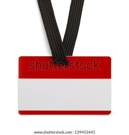 Empty Red and White Identification Card Isolated on White Background.