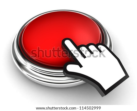 empty red button and cursor hand on white background. clipping paths included - stock photo