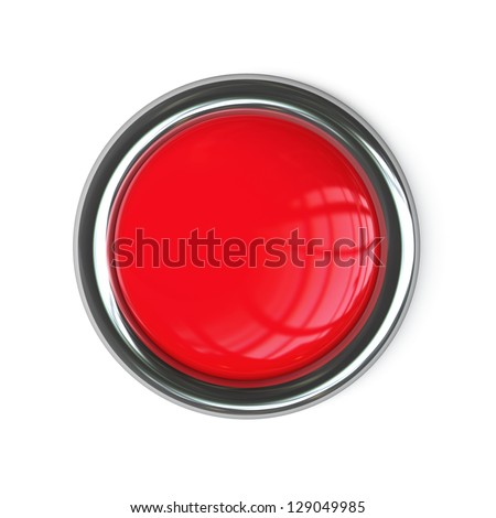 Empty red button isolated on white background. High resolution 3d render - stock photo