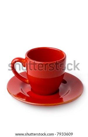 Empty Red coffee cup isolated on white