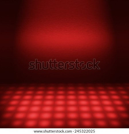 empty red disco scene with beam of light, interior abstract background to insert text or design - stock photo
