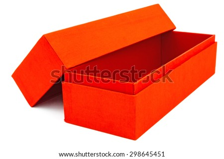 empty red gift box on white background - stock photo