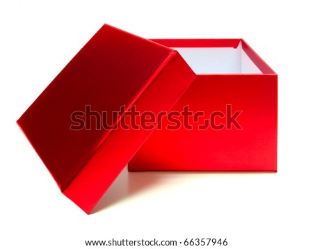 Empty red gift box with lid and copy space on a white background - stock photo