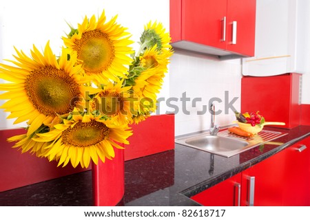 empty red kitchen - stock photo