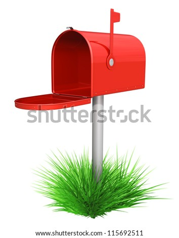 Empty red mailbox and green grass -  isolated over white - stock photo