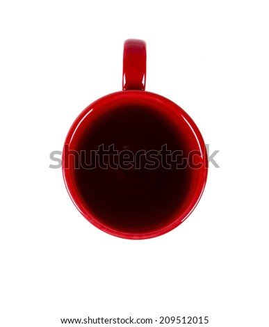 Empty red mug from top  - stock photo