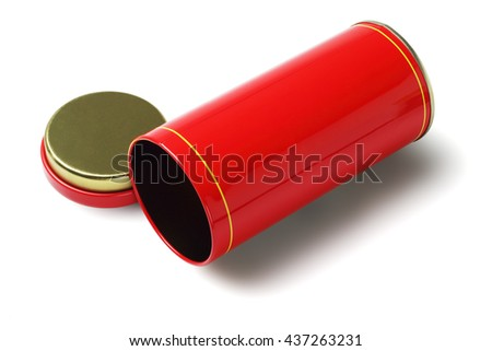 Empty Red Oriental Metal Container Lying on White Background - stock photo