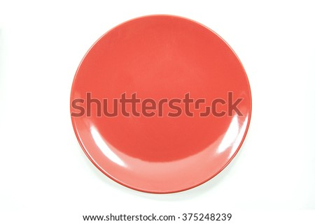 empty red plate on white background - stock photo