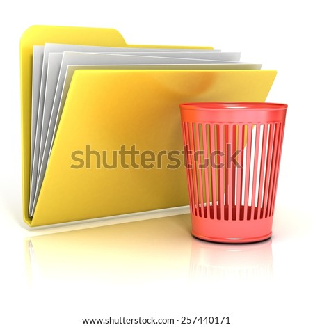 Empty red recycle bin folder icon, 3D render illustration, isolated on white background - stock photo