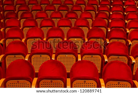 Empty red seats for cinema, theater, conference or concert - stock photo