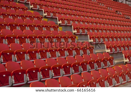 Empty red seats in a stadium
