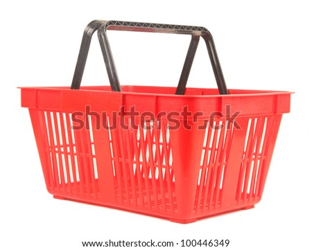 Empty red shopping basket. Isolated over white background. - stock photo