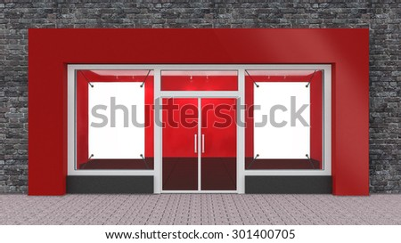 Empty Red Store Front with Big Windows with border - stock photo