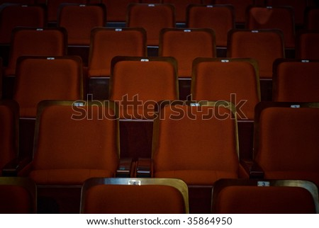 Empty Red Theater Seating - stock photo