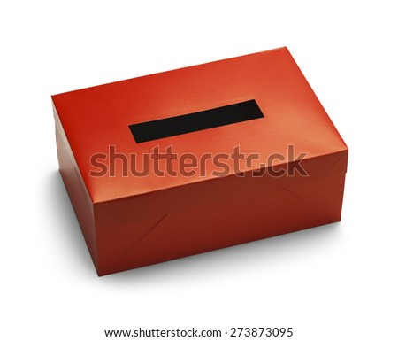 Empty Red Voting Box Isolated on White Background.