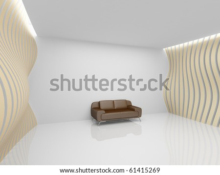 Empty relaxation room in minimalist style - stock photo