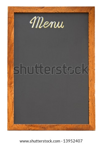 Empty restaurant menu chalkboard isolated on white