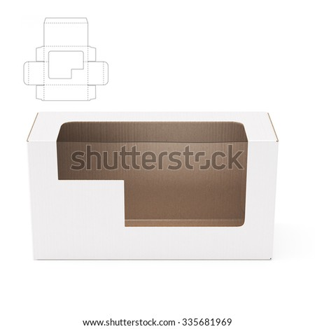 Empty Retail Box with Window Cut and Die Cut Template