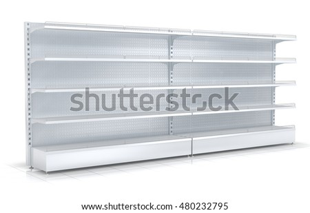 Empty retail shelves. 3d image. Isolated on white