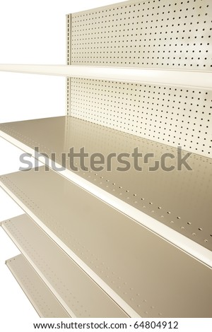 Empty retail store shelves shot at extreme angle in studio and silhouetted on white - stock photo