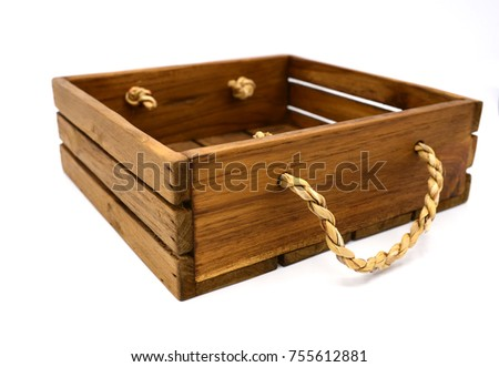 Empty retro dark brown wooden box with rope on white background