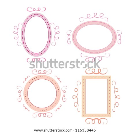 Empty retro frames set. Cute pink, orange and violet whimsy hand-drawn design elements for picture or text on website, wedding invitation, valentines or baby shower card - stock photo