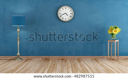 Empty Retro room with blue wall ,lamp and sunflowers - 3d rendering