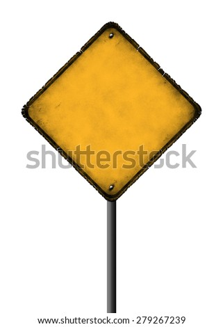 Empty rhombus sign with ragged edges on white background - stock photo