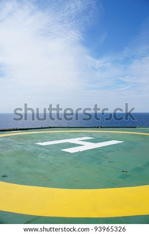 Empty Rig Offshore Helideck - stock photo