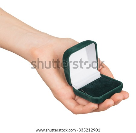 Empty ring box in humans hand on isolated white background