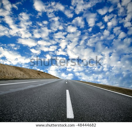 Empty road and fantastic sky
