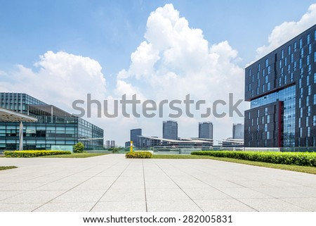 Empty road at building exterior - stock photo