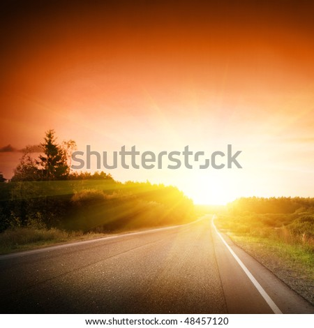 Empty road at sunset.