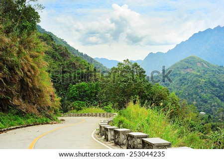 Empty Road in Cordillera Mountains, Luzon, Philippines  - stock photo