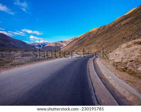 Empty road in mountains