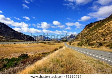 Empty Road in New Zealand - stock photo